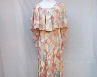 ON SALE 70s Mauve Floral Maxi Dress size Small to Medium Sheer Capelet Top