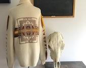 vintage slouchy cowichan sweater / ethnic cardigan / boyfriend sweater