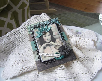 Thinking of You Card - Vintage-style Card - Handmade Card