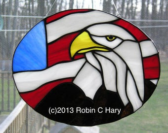 Bald Eagle with American Flag Stained Glass Suncatcher