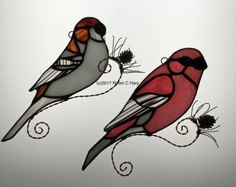 Pine Grosbeak Suncatcher in Stained Glass