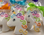 Unicorn Cookies, Princess Cookies - 15 Decorated Sugar Cookie Favors