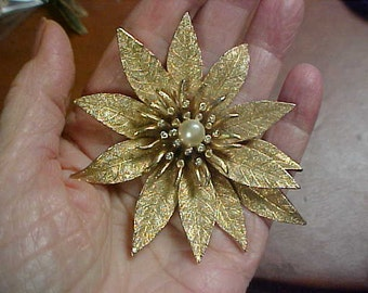 Large flower brooch with center faux pearl