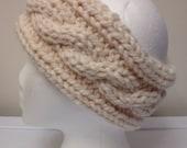 Cream Cable Knit Ear Warmer or Headband, Women's Chunky Cabled Earwarmer, Warm Winter Headband