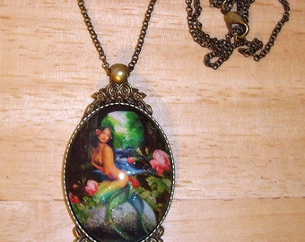 """Mermaid On A Rock Pendant Necklace 24"""" Antique Brass Dainty Chain With Glitter"""