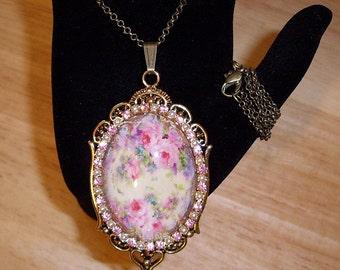 "Dainty Pink Roses Pendant Necklace Art Bubble Cameo 24"" Chain Antique Bronze"