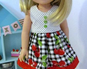 """Wellie Wisher Cherry Pie Dress - 14.5"""" Doll - Ready to Ship"""
