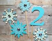 Snowflakes Cake Topper Set