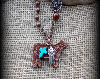"""Kiln Fired Earthenware , Cattle Jewelry, Show Steer, Show Heifer, Livestock Bead/Chain  Necklace, Approx 29"""" (end to end)"""