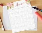 June Calendar, Printable calendar, Reusable printable calendar, perpetual, any year, printable DIY, letter size, 8.5 x 11
