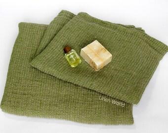 100% Linen Bath Towel   Soft Pure Flax Boho Bathroom Towel   Green Washed Waffle Linen Travel Towel   Natural Organic Gift home #EtsyGifts