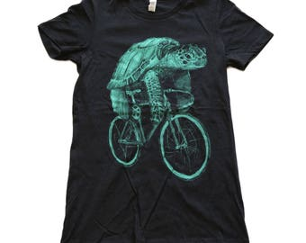 Sea Turtle on a Bike- Womens T Shirt, Ladies Tee, Tri Blend Tee, Handmade graphic tee, sizes S-XL