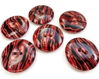 Zebra Vintage Buttons - 6 Red Black Mid Century 7/8 inch 22mm for Coat Jacket Jewelry Beads Sewing Knitting