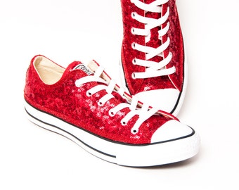 Tiny Sequin - Starlight Red Canvas Custom Converse Low Top Sneakers Tennis Shoes