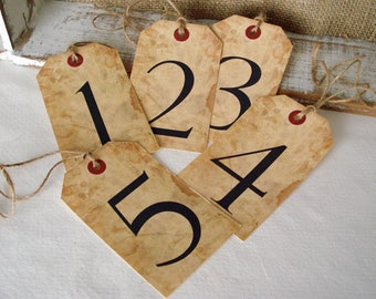 Wedding Table Number Tag set of 10 Tea Stained Look Numbered Tag Event Seating Hang Tag Engagement Party Anniversary Dinner Birthday
