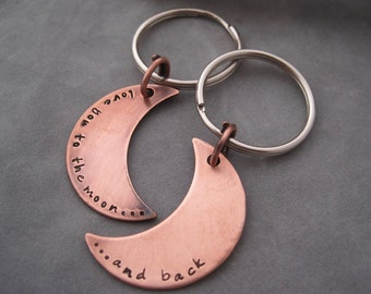 CLOSE OUT! Stamped Key Ring - Love You to the Moon and Back - Copper