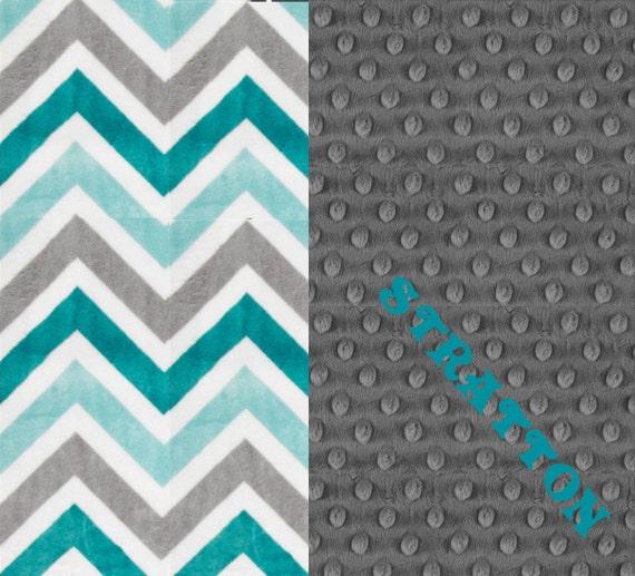 Minky Baby Blanket Boy, Teal Gray Chevron Personalized Baby Blanket - Topaz Charcoal // Soft Baby Blanket