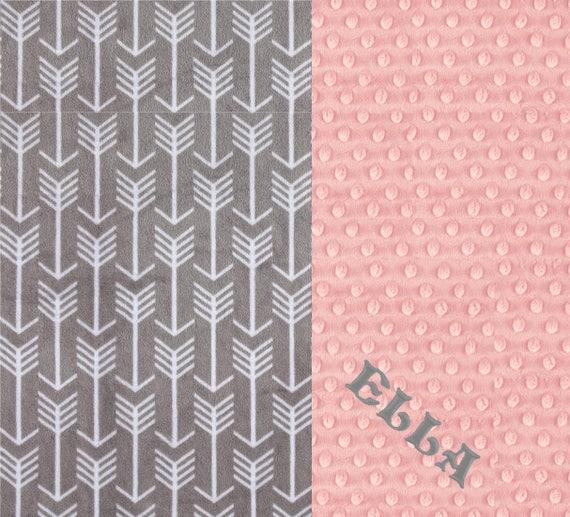 Minky Adult Blanket, Personalized Blanket - Silver Arrow & Blush Pink Throw  Twin Size // Arrow Blanket // Soft Blanket // Name Blanket