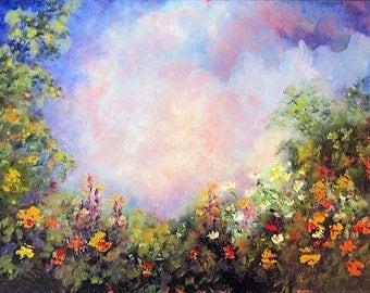 painting landscape original landscape painting flower garden home decor wall decor - Simple Flower Garden Paintings