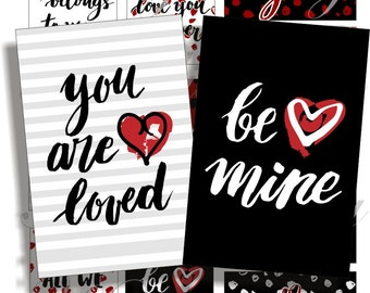 Printable, instant download, Valentine for cards, ACEO, ATC, scrapbook and more Digital Collage Sheet 3 X 2 inch No.1699