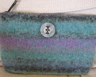 Clutch Wristlet Teal Striped Hand Knitted Wool Custom Lined