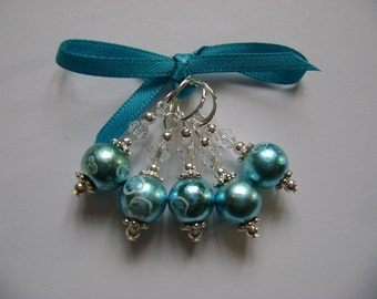 Turquoise Art Glass Stitch Markers for Knitting or Crochet