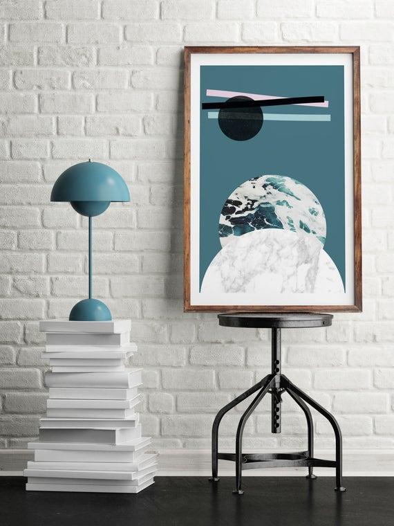 ABSTRACT LANDSCAPE // Mid centuty poster, 24x36, abstract art, minimalist print, scandinavian style, Nordic design, moon, sea, marble, bleu