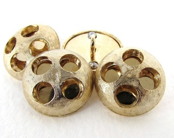 Vintage Metal Button Gold Shank Mod Round Sewing Finding 19mm but0304 (4)