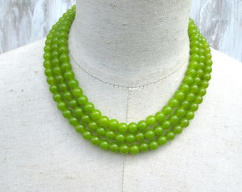 Triple Strand Lime Green Peridot Beaded Collar Necklace
