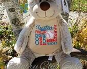 Bear personalized baby gift, personalized plush, stuffed plush, Classic collection kids personalized stuffed animal keepsake, Embroider Budd