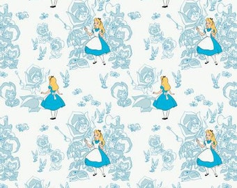 Alice in Wonderland by Camelot Fabrics Golden Afternoon toile in Lt Blue choose your length YES! Combined Shipping  and continuous cuts