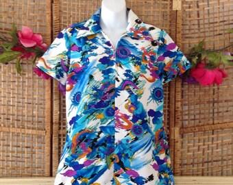 Vintage Vibrant Oriental Print Polyester Tunic Top Zip Front Ponted Collar Lanie J