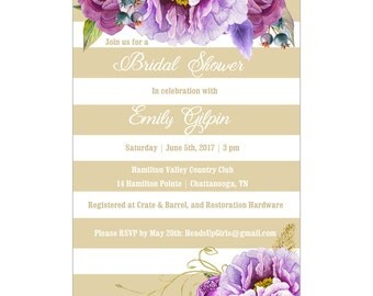 Personalized Wedding Bridal Shower Invitations and Envelopes One Dozen Printed with Purple Flowers on Gold NVB002