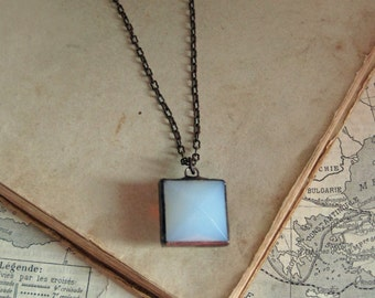 Square White Faceted Glass Pendant Stained Glass Jewelry