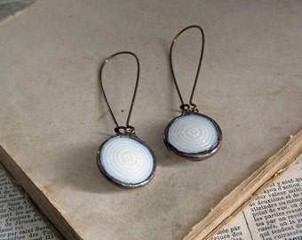 White Glass Button Earrings  Recycled Jewelry