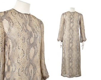 1970s snake print gown  / 70s python dress / bishop sleeve maxi dress and scarf .. small