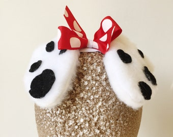 Black and white Dalmatian red polkadot bow Ears Stretch Headband GREAT PHOTOGRAPHY PROP