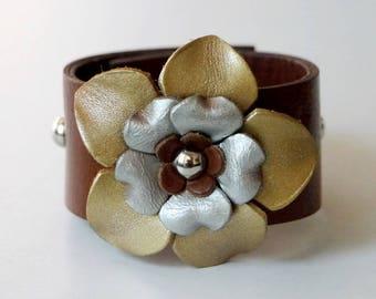 Flower Bracelet Leather Flower Cuff Flower Bangle Flower Leather Cuff Tan Color
