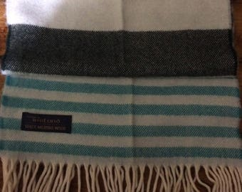 Vintage Ireland 100% merino Wool Turquoise Green Nautical Scarf