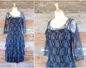 1980s prom dress | blue sheer lace drop waist ruffle skirt 80s dress | size m