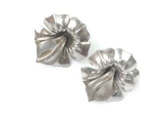 Vintage Sterling Orchid Flower Earrings Signed MK Screw Back