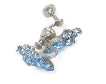 Light Blue Rhinestone Earrings Petite Screw Back Vintage