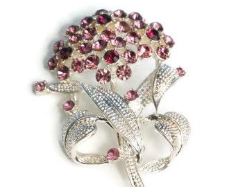 Lavender and Purple Rhinestone Brooch Pin Floral Design Vintage