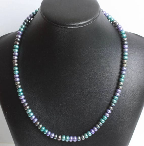 Rainbow Freshwater Pearl Necklace Three Color 18 Inch Choker