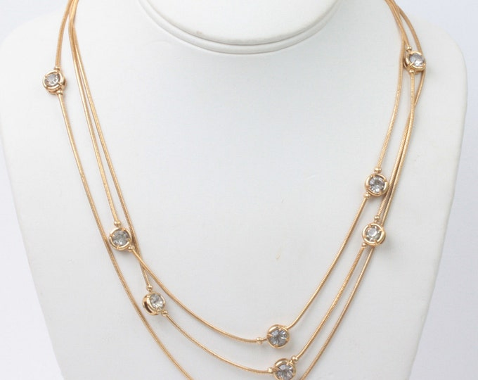 Crystal Station Necklace Three Chains Gold Tone Serpentine Chain Vintage