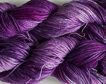 Silk Bamboo yarn, Hand-dyed, 225 yds - Grape Tonal