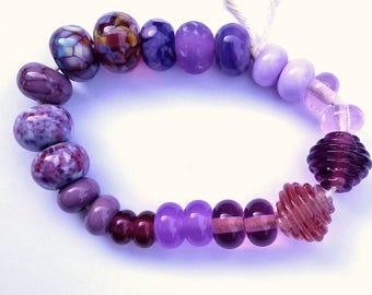 Mixed Purple Artisan Lampwork Beads