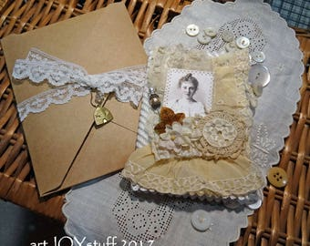 Fabric and Lace Altered Mini Notebook or Pocket Journal - woman with stick pin - NO36