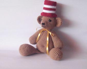Crochet bear honey color bear Dr Suess hat acrylic yarn handmade