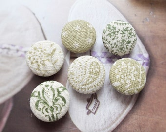 Retro Purple Green Colorway Spring Natural Plants Paisley Floral Flowers Stars Patchwork-Handmade Fabric Covered Buttons(0.87 Inches, 6PCS)